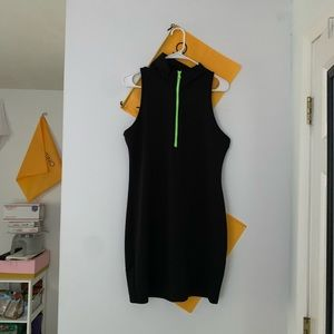 green zipper form fitting black dress